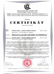 Certifikát - Betonový prvek zahradní architektury